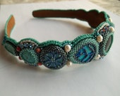 Made to order. Hair band bead embroidery turquoise hair accessory.