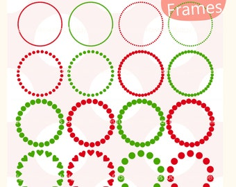 ON SALE, christmas circle frame clipart ,circle dots frame,  instant download, circle frame, digital scrapbooking clip art, red, green A-251