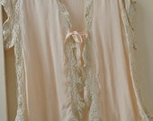 Vintage Peach Silk and Lace Bed Jacket