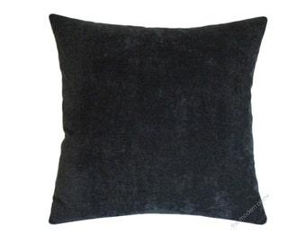 "Graphite Gray Velvet Decorative Throw Pillow Cover / Pillow Case / Cushion Cover / 20x20"" Square"