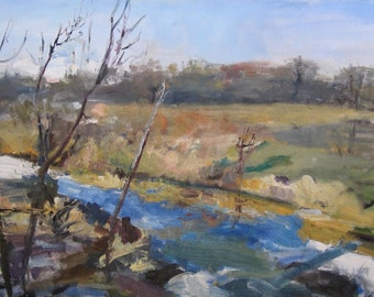 fox river valley, landscape oil painting, impressionistic painting, impressionism, plein air painting, trees and river, original art