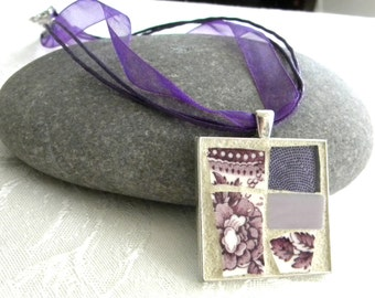 Mosaic Pendant - Plum Purple Transferware - Jewelry Necklace - Stained Glass