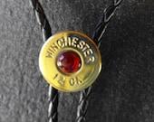 Winchester Shotgun Bolo Tie with Red Paua Shell