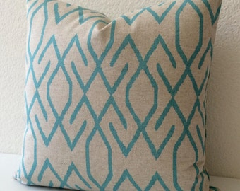 Double sided, Decorative pillow, modern geometric turquoise ikat pillow