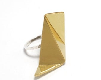 Brass Ring, Silver Origami Ring, Sterling Silver Ring, Gold Ring, RSB025