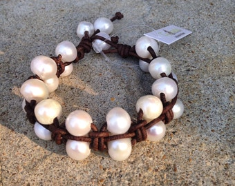 Larks Head Freshwater Pearl and Leather Bracelet