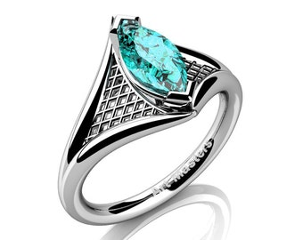 French 14K White Gold 1.0 Carat Marquise Blue Zircon Lace Solitaire Engagement Ring R428-14KWGBZ