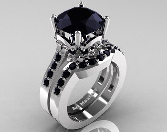 Classic 14K White Gold 3.0 Carat Black Diamond Solitaire Wedding Ring Set R301S-14KWGBD