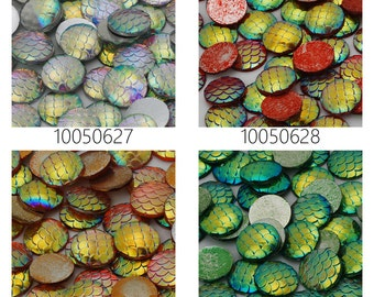 50PCS 12mm Resin Mermaid Cabochons AB Iridescent Mermaids Cabochon 100506