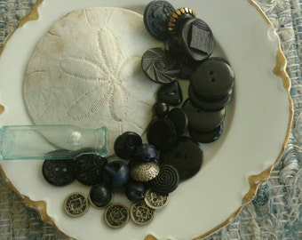 Black + Blue Vintage Button Collection - 30 Retro Sewing Buttons, Seamstress Buttons, Milliners Supplies, Glass Button, Faceted Art Glass