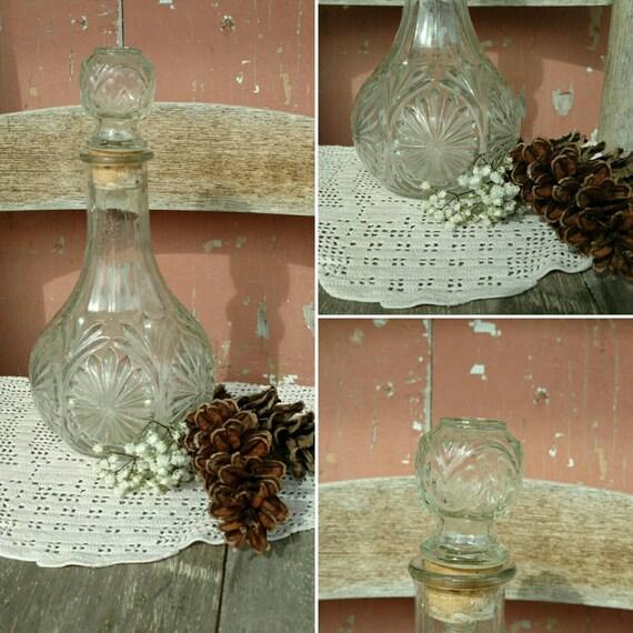 Art Deco Liquor Decanter - Vintage Bar Item, Pressed Glass + Cork Barware, Collectible Barware, Wedding Decor or Barware, Retro Gift