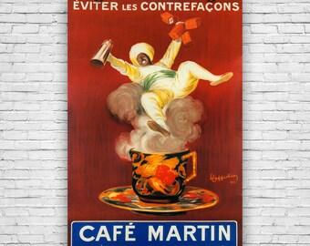 CafZ Martin, by Italian Artist Leonetto Cappiello, Vintage Advertising, Art Print Poster
