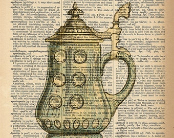 Dictionary Art Print - Beer Stein - Upcycled Vintage Dictionary Page Poster Print - Size 8x10