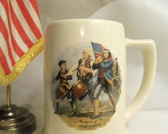 Very Rare Vintage Hallmarked AMERICAN Made PATRIOTS Marching SPIRIT of '76 Ceramic Porcelain Stein Mug Tankard Cup- Birthday Gift Him Her