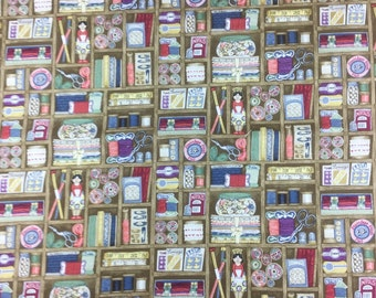 Makower Haberdashery Boxes cotton craft fabric by the fat quarter