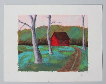 red cabin (oil pastel painting)