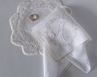 Monogrammed A Bridal Handkerchief with Floral Embroidery in Antique White, Bride's or Bridesmaid's Gift, Something Old Wedding Memento