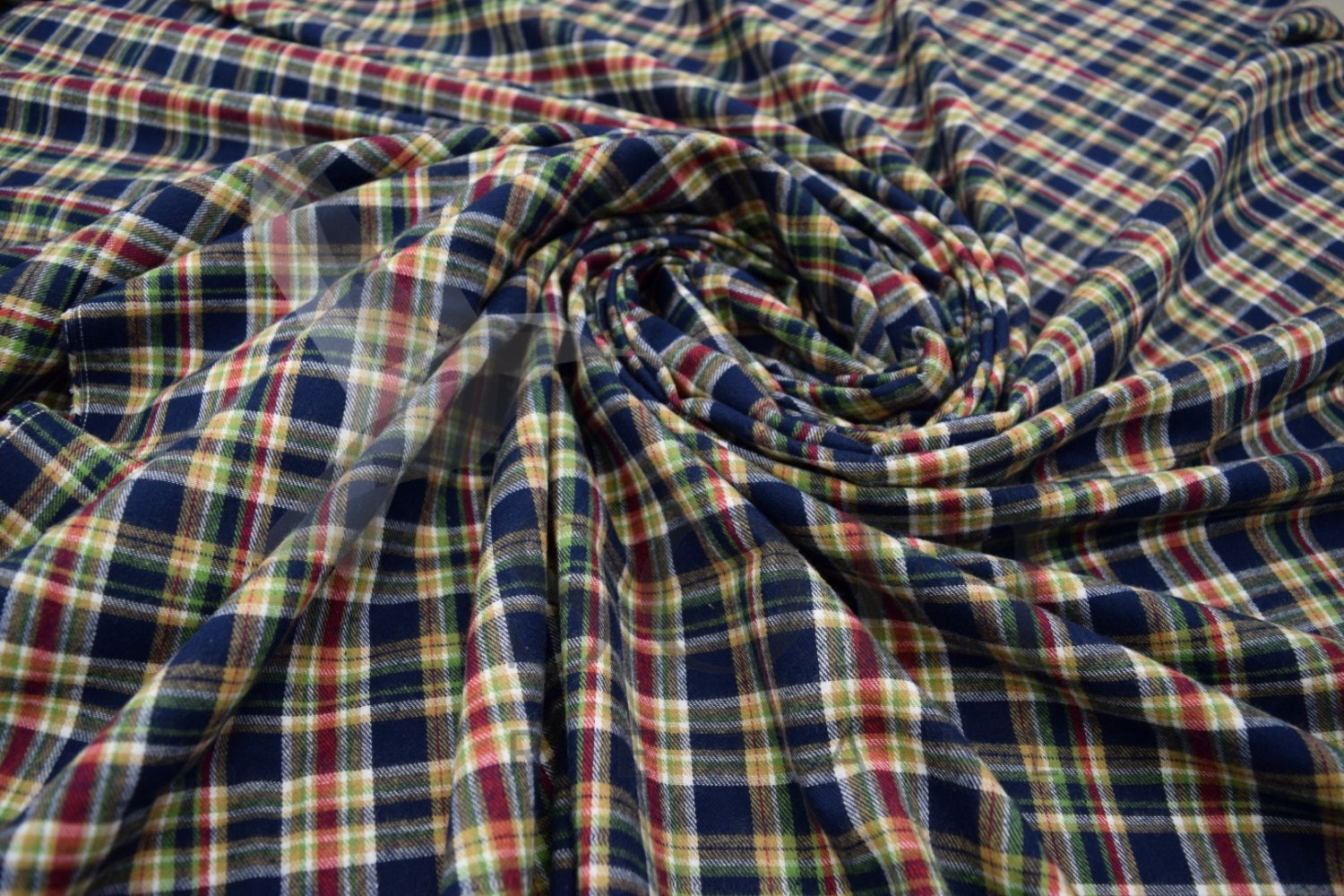 Cotton flannel plaid a tartan fabric by the yard for Cotton fabric by the yard