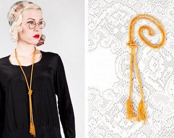 Vintage 1920s Long Beaded Butterscotch Yellow Tassel Necklace