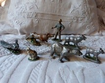 6 Antique French lead farmer w animals painted metal lead cat peacock goat deer bear toys vintage handpainted lead toys rare toy collection