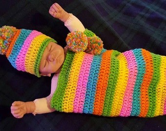 Crochet baby cocoon,  hand made 0-3 month bright colors   pom pom hat