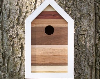 Modern Contemporary Reclaimed Wood Birdhouse / Nest Box / One-of-a-kind / 7 Species of Wood / Shipping Included