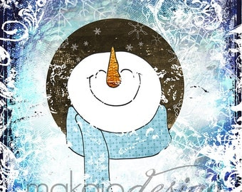 Whimsical Snowman, Cheerful Snowman, Snowman Art, Mixed Media Gallery Wrapped Canvas