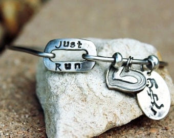 Just Run Mantra Bangle Bracelet, Runners Jewelry, Jewelry for Runner, Gift for Runner, Runner Charm Bracelet, Runner Bangle, Mantra Bangle