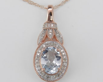 "Diamond and Aquamarine Halo Pendant Necklace 18"" Rose Pink Gold Chain Aqua"