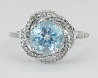 Diamond and Blue Topaz Halo Engagement Promise Ring 14K White Gold Size 7
