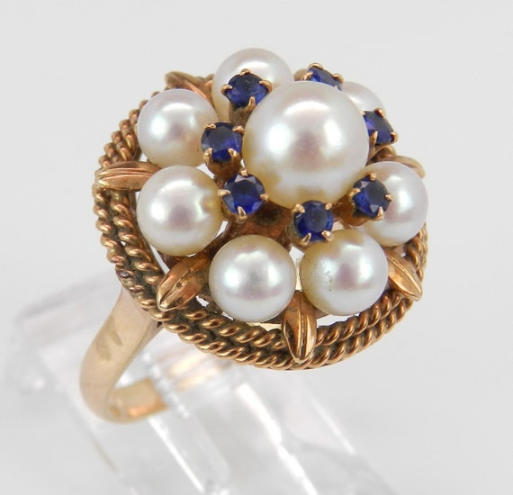 Sapphire and Pearl Ring Vintage Ring Antique 14K Yellow Gold Cluster Ring Blue Statement Ring Size 6.5