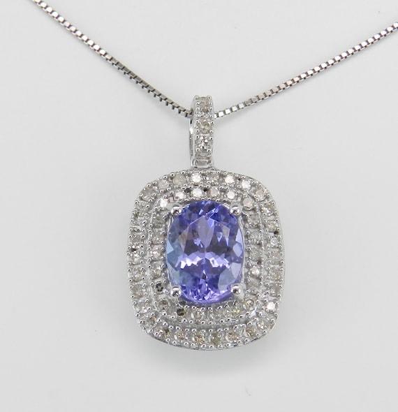 """Diamond and Tanzanite Double Halo Pendant Necklace 18"""" White Gold Chain"""
