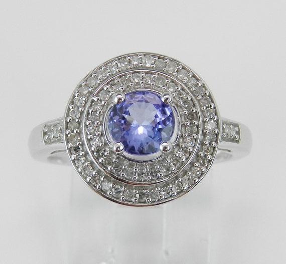 Double Halo Diamond Tanzanite Engagement Promise Ring 14K White Gold Size 6.25