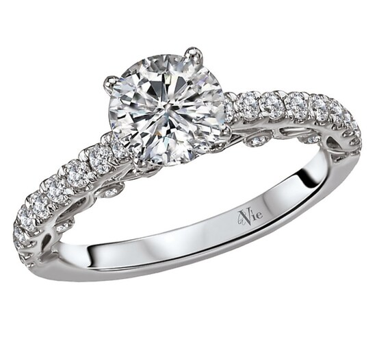 Diamond Engagement Ring Setting Semi-Mount Mounting set in 14K White Gold