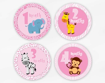 Baby Monthly Stickers for Photos - Pink Jungle Animals Set of Waterproof Tear Resistant Stickers for Baby Girl (6002-1)