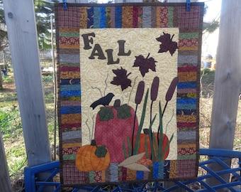 Autumn Wall Quilt, Autumn Quilt,  Pumpkin Fall Quilt 0415-01