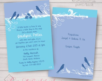 Bird Filigree & Flower Invitations. Free Color, Font, Text Changes. Birthday, Baby Shower, Moving Announcement, Wedding. Printed or Digital
