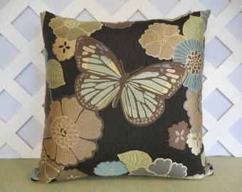 Butterfly Pillow / Floral Pillow / Brown Blue Pillow / Accent Pillow / Decorative Pillow / Throw Pillow / 18 x 18 Pillow