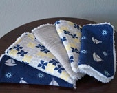 Baby Boy Washcloth Set - Chenille Wash Cloths - Sailboats & Pinwheels - Navy Blue, Gray, Yellow - Baby Boy Gift - Nautical Nursery