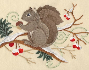 Squirrel and Winter Branch Spray