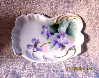 Antique Limoges TV Pin Dish-Handpainted Violets
