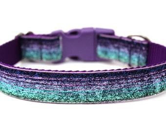 """Purple Dog Collar 1"""" Glitter Dog Collar SIZE SMALL"""