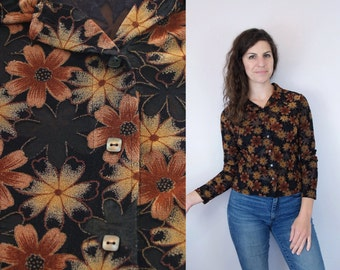 1990s Does 1970s Vintage Brown & Black Sheer Floral Flower Long Sleeve Collared Button Down Blouse / See Through Shirt / Small S Medium M