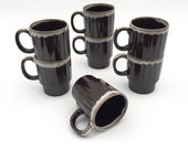 Mid Century Coffee Mugs, Set of 7 Stacking, Espresso brown, Drinkware