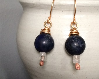 Bronze & Navy Blue Gemstone Earrings - Lapis Lazuli w/ Quartz - Simple Everyday Dangle Earrings - Unique BOHO Jewelry Gifts for Her