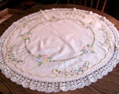 "Luncheon Tablecloth Off White Linen / Embroidered Luncheon Tablecloth or Table Topper 38"" Round"
