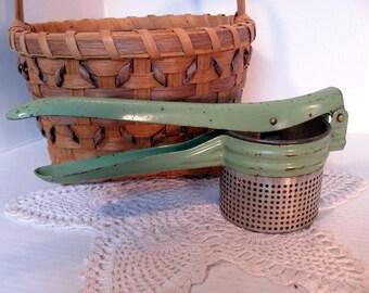 Potato Ricer Green Handle, Collectible Kitchen Utensil