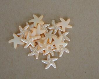 Light Peach Star Fish Cabochon Resin Flat Back 19mm Set of 20