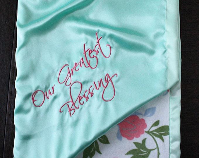 Baby Girl Blanket, Embroidered blanket, Personalized blanket, mint blanket, satin and minky, personalized gift, monogrammed blanket, gift