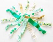 St. Patrick's Day Hair Tie Grab Bag Gift for Girls Women Teen Tween, luck of the irish, clover, green, Gift Bag, 4 four leaf clover